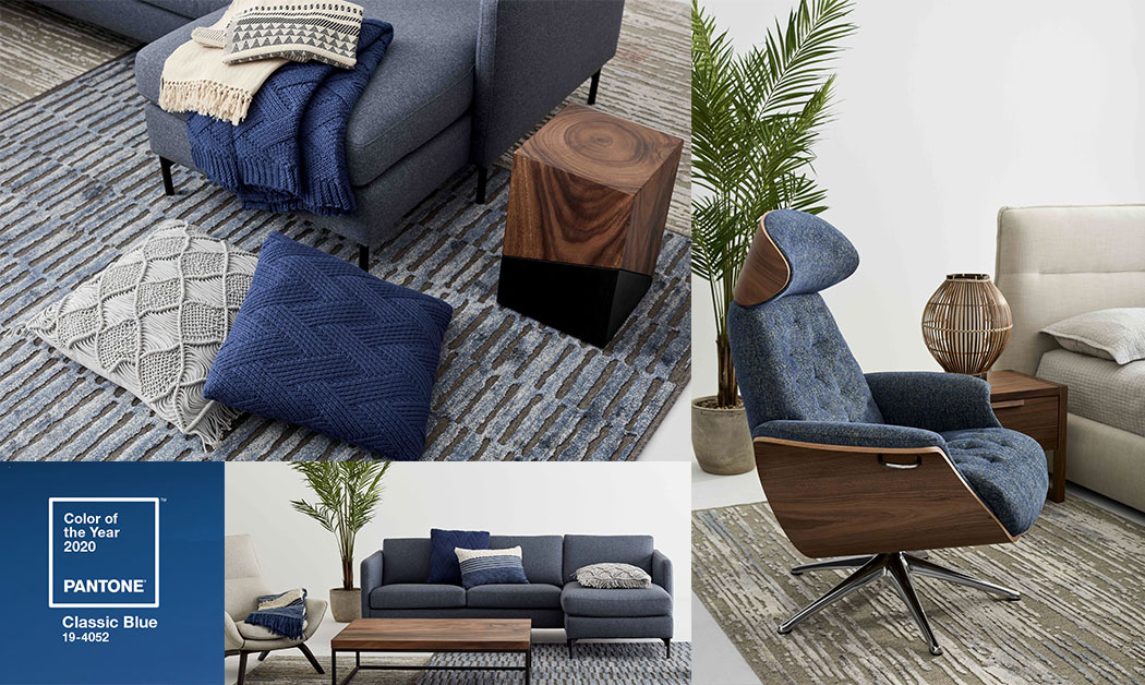 Classic Blue is the colour of the year 2020 according to the Pantone Institute. Here we can see our products in this trendy colour: cushions, sofas, throws and accent chair.